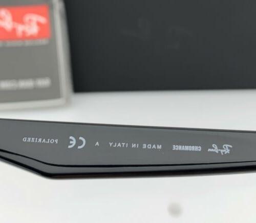 Ray-Ban Shiny Black Silver Mirror POLARIZED Lens