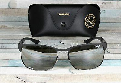 RAY BAN 186 5J Black Grad Polarized 60 Men's Sunglasses