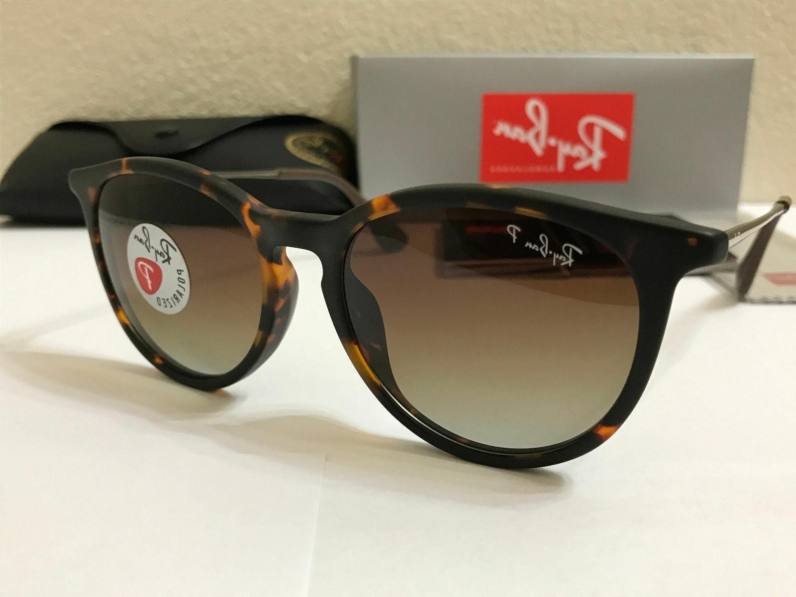 RAY-BAN Sunglasses Erika Polarized Matte Tortoise Frame W/Br