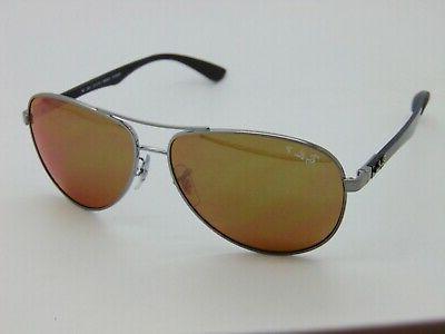 Ray Ban 8313 004/N3 Gunmetal Carbon Fiber Polarized Gold Aviator Sunglasses