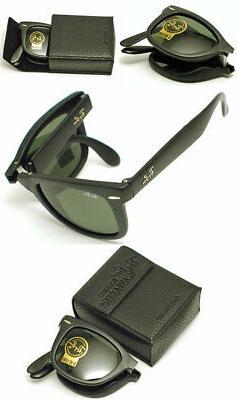 Ray-Ban RB4105 - 601 Folding Wayfarer Sunglasses, Black, 54m