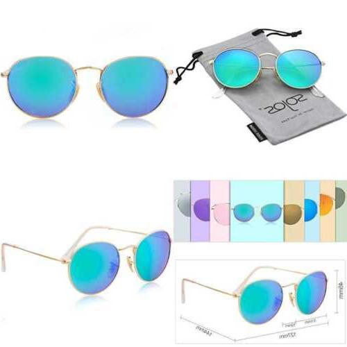 SojoS Small Round Polarized Sunglasses Mirrored Lens Unisex
