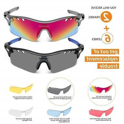 Tsafrer Sports Sunglasses 2 Pairs W/ 6 INTERCHANGE LENSES