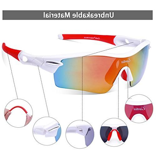 Sport Sunglasses - Polarized Sunglasses Men and Women Interchangeable Fishing Golf, Unbreakable Frame UV400