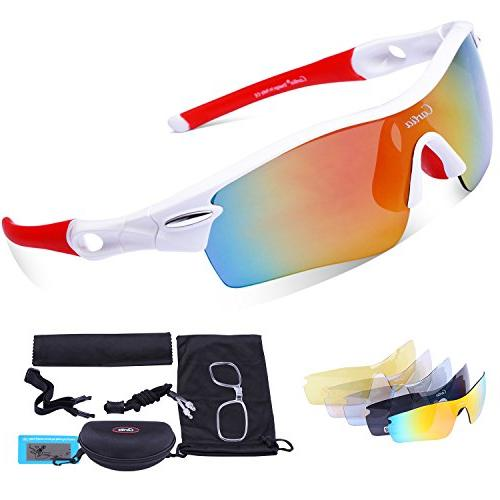 Sport Polarized Sunglasses Men Interchangeable Lenses, Cycling Running Fishing Ski Golf, TR90 Unbreakable Protection