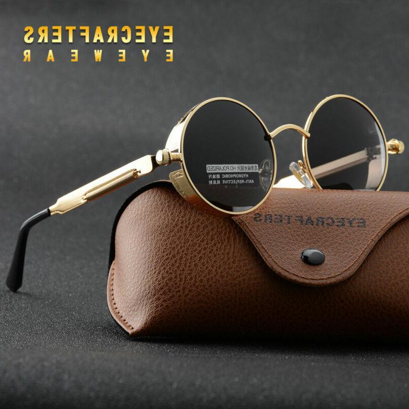 unisex retro polarized steampunk sunglasses fashion round