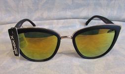 Spexx,Matte Black,Mirror Gold Tone, Cat's Eye Sunglasses, Ey