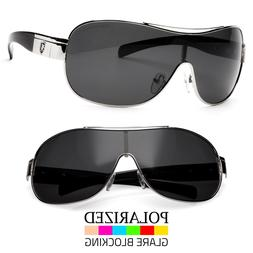Men Large Shield Aviator Wrap POLARIZED Sunglasses Sport Dri