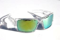 Men Oversized Polarized Sunglasses clear frame with green mi