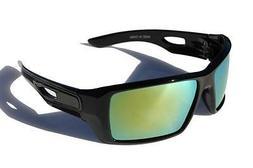 Men Oversized Polarized Sunglasses gloss black /w green mirr