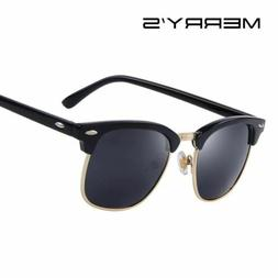 Men Retro Rivet Polarized Sunglasses Classic Brand Unisex Po