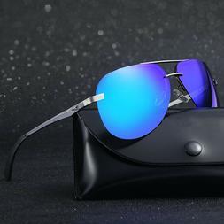 Men's Aviator Pilot Polarized Mirrored Lens Driving UV400 Su