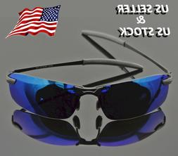 Men's Polarized Mirror Blue Lens Sunglasses w/ Cloth, Polari