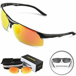 TOREGE Men's Sports Style Polarized Sunglasses Al-Mg Metal F