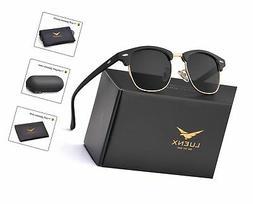 LUENX Mens Clubmaster Sunglasses Polarized Womens: UV 400 Pr