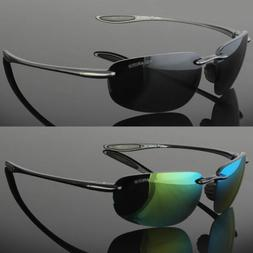 Mens Rimless Polarized Sunglasses UV400 Outdoor Sports Drivi