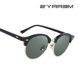MERRY'S Men Retro Rivet Polarized Sunglasses Classic Brand D