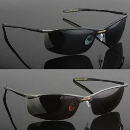 Metal Men Polarized Sunglasses Sport Wrap Around Driving Eye