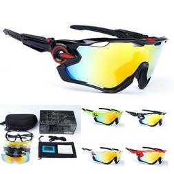 New 5 Pair Lens Polarized UV400 Cycling Bicycle Sunglasses J