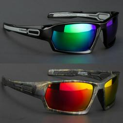 New Men Polarized Sunglasses Sport Wrap Around Black Mirror
