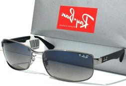 NEW* Ray Ban Gunmetal & Black w POLARIZED Grey Blue Lens Sun