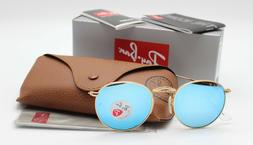 New Ray-Ban RB3447 112/4L Gold/Blue Flash Polarized Round Su
