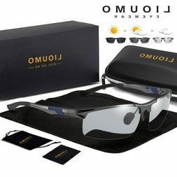 LIOUMO Photochromic Sun Glasses Polarized Men Aluminum Magne