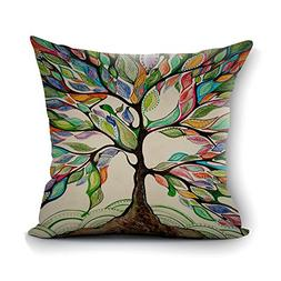 oFloral Tree of Life Decorative Throw Pillow Case Square Cus
