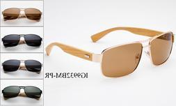 Polarized Sunglasses Aviator Bamboo Classic Men Women Square