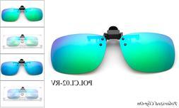Polarized Clip On Flip up Sunglasses Flash Mirror Glare Bloc