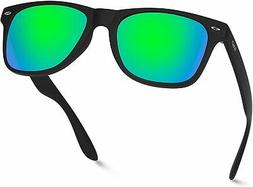 Polarized Flat Mirrored Reflective Color Lens Large Horn Rim