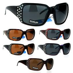 SA106 Polarized Lens Oversize Rhinestone Bling Iced Out Wome