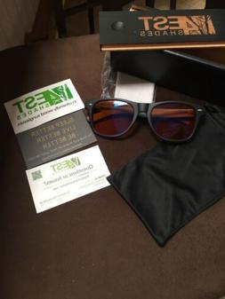 4est Shades Polarized Lenses Wood Sunglass, blue light block