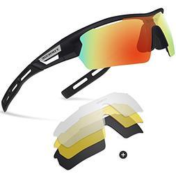 ef23388427 Torege Polarized Sports Sunglasses for Men Women Cycling Run