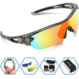 3098128cd6957 TOREGE Polarized Sports Sunglasses with 5 Interchangeable Le