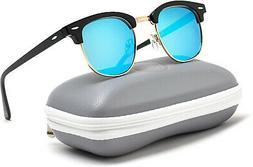 WearMe Pro Polarized Sunglasses Black Half Frame Gold Rimmed