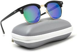 WearMe Pro Polarized Sunglasses Classic Retro Black Half Fra