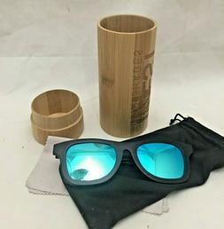 4EST Shades Polarized Sunglasses Ecofriendly Black Wood Fram