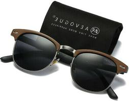 AEVOGUE Polarized Sunglasses Semi-Rimless Imitation woodgrai