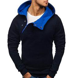 YOcheerful Men's Pullover Long Sleeve Top Blouse Winter Soli