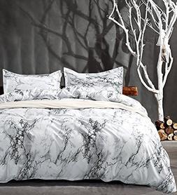 Queen Bedding Duvet Cover Set White Marble, 3 piece - 1000 -