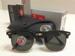 Ray Ban Clubmaster Sunglasses POLARIZED Green Lens Black/Gol