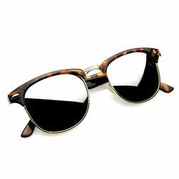 Retro Fashion Half Frame Flash Mirror Lens Sunglasses Mirror