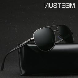 Retro Polarized Metal Pilot Sunglasses for Men's Glasses Dri