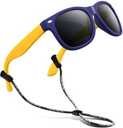 RIVBOS Rubber Kids Polarized Sunglasses with Strap Shades fo