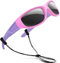 Rivbos Rubber Kids Polarized Sunglasses With Strap Glasses S