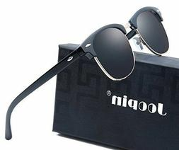 Joopin Semi Rimless Polarized Sunglasses Women Men Retro Bra