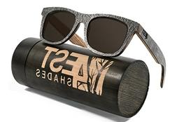 4EST Shades Stone Wood sunglasses - Polarized lenses in a on