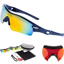808d4cb0ac Sports Sunglasses with 5 Set Interchangeable Lenses RIVBOS 8