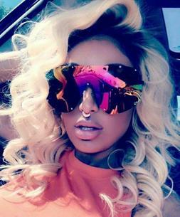 "Sunglasses ""FULL MASK"" Shield Mirror POLARIZED Women Bolts O"